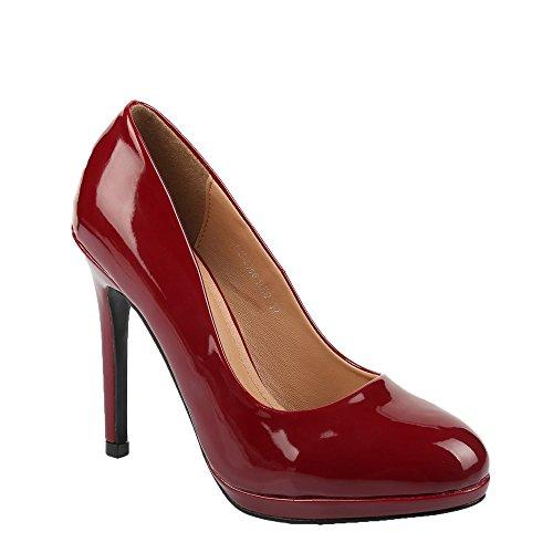 Ideal Shoes - Escarpins vernis Sanda Rouge