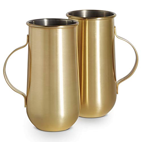 VonShef Set mit 2 goldfarbenen Tassen, ideal für heiße und kalte Getränke, inkl. Latte, Cappuccino & Americano oder Cold Brew Kaffee, Cocktails & Bier, perfektes Geburtstags- oder Einweihungsgeschenk (Cold Brew-kaffee-tasse)