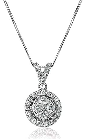 0.40CT Certified G/VS2 Round Cluster Diamond Pendant with Split Bale in 18K White Gold