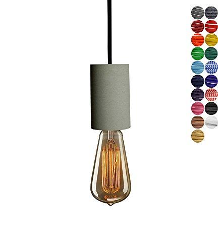 Pendellampe (Beton Lampe), Textilkabel Schwarz (19 Farben wählbar), 5.8 x 10.5 cm, excl....