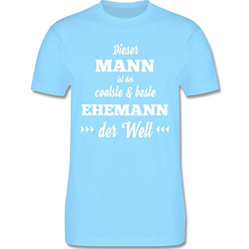 Shirtracer Typisch Männer - Dieser Mann ist der Coolste und Beste Ehemann - Herren T-Shirt Rundhals Hellblau
