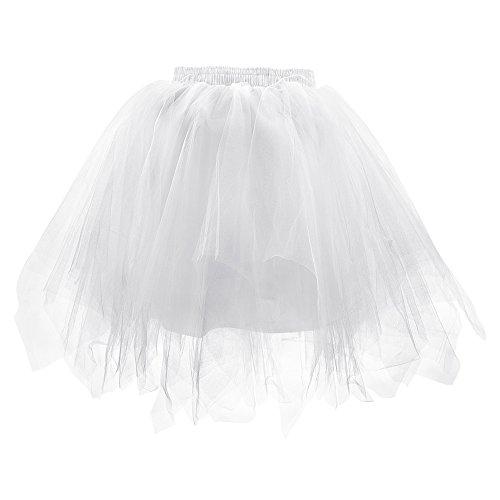 rkleid Unterrock Weiß 1950er Petticoat Reifrock Ballett Kostüm Tanzkleid Crinoline Party Kleid Vintage Rockabilly Tüll Tütü Röcke Pettiskirt Ballerina Für Erwachsene Elegant (Einfache Halloween-aktivitäten Schreiben)