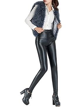 Zhuhaitf Buena calidad Casual Retro PU Leather Pants High Waisted Legging Warm Plus Velvet Thicken Womens Pants
