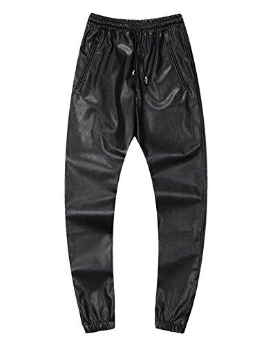 Idopy Pantaloni in Pelle da Uomo con Coulisse