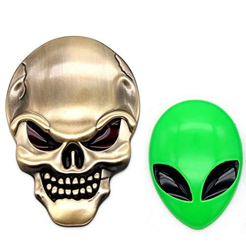 xj 3D Chrome Bone Red Augen Metall Schädel Emblem Aufkleber Aufkleber Logo Fender Hood Auto Motorrad + 1 stück Auto 3D Logo Metall Aliens