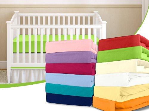 Kinder-Jersey-Spannbetttuch - mit einer Steghöhe von ca. 20 cm passend für Kinder- und Babybettmatratzen - erhältlich in 15 ausgesuchten Farben und einer Einheitsgröße von 60-70 cm x 120-140 cm, orange