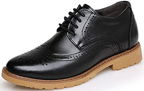 DADAWEN Men's Smart New Flat Lace Up Leather Shoes Black UK 8