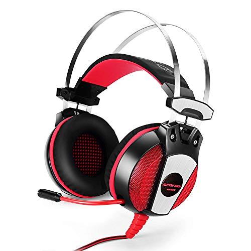 3,5mm Gaming Headset GF & el- Haarband Spiel Kopfhörer mit Mikrofon Stereo Bass LED Licht für PS4PC Computer Laptop Handys schwarz/rot
