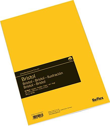 Schoellershammer VF5004291 Bristol Zeichenpapier A3, Zeichenblock, 50 Blatt, 180 g/qm hoch weiß