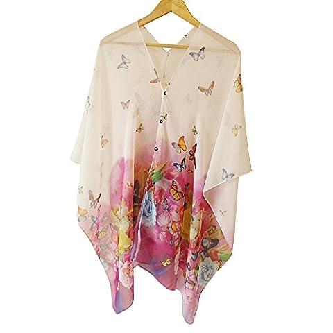 Metyou Papillon d'impression de plage en mousseline Crème solaire Tippet Châle Écharpe Serviette Crème solaire Clothe écharpes Robe de plage pour femme,