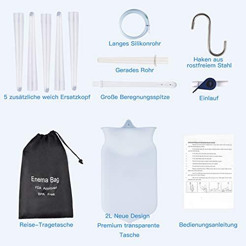 Einlauf Set zur Darmreinigung ,MayBeau 12 Stk 2 Liter Klistier Irrigator Set Einlaufset -100% BPA frei und Phthalatfrei für Darmeinlauf