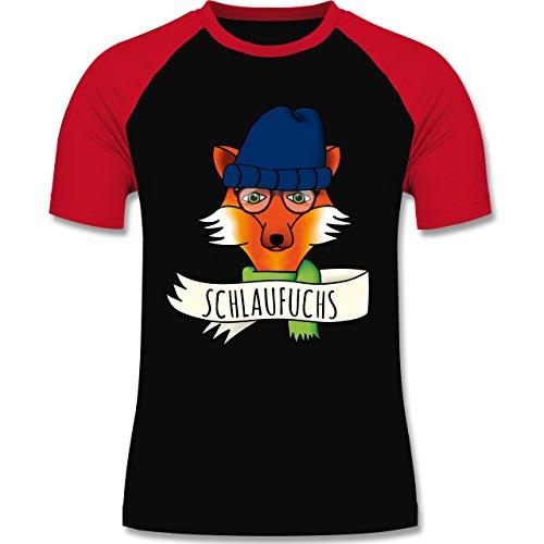 Eulen, Füchse & Co. - Schlaufuchs - zweifarbiges Baseballshirt für Männer Schwarz/Rot