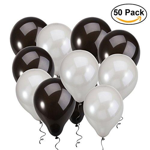 NUOLUX 50pcs Globos de látex redondos partido cumpleaños de la boda 2.8g Globos de plata negro juguete para los cabritos