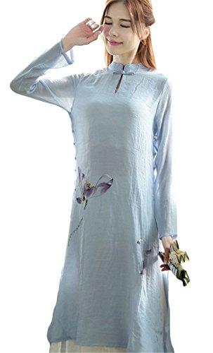 Femmes chinoise vent à manches longues d'impression faux deux pièces de coton lin robe longue Bleu