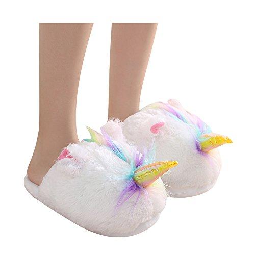 Einhorn Hausschuhe Warme Plüsch Winters Mädchen Kinder Damen Schuhe Nettes Weihnachtsgeschenk Europäische Größe 36-41 (Einheitsgröße 36-41, (Regenbogen Die Flügel Erwachsenen)
