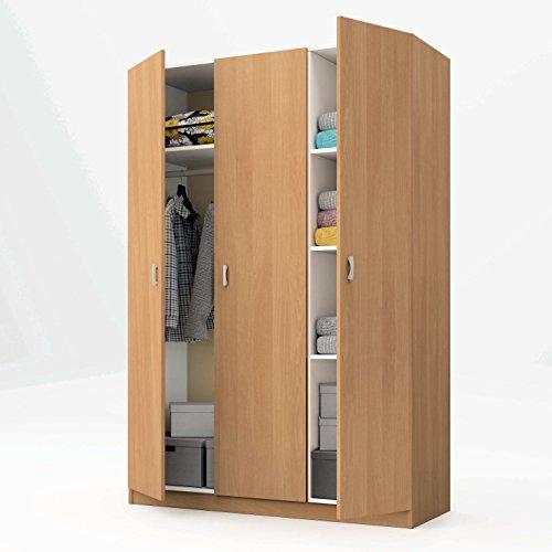 Armario de 3 puertas roble con estantes, altillo y barra interior incluida de dormitorio. 180cm alto x 120cm ancho x 50cm fondo