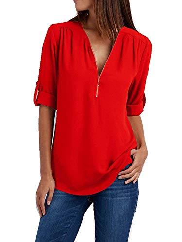Damen Chiffon Blusen Elegante Reißverschluss Langarmshirts Bluse Tunika Oberteile T-Shirt V-Ausschnitt Tops A Rot 2XL