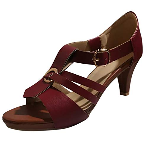 2c24fb08fd Bringbring Womens Shoes Ladies Rome Summer Stiletto High Heels Shoes  Elegant Sexy Ankle Buckle Open Toe