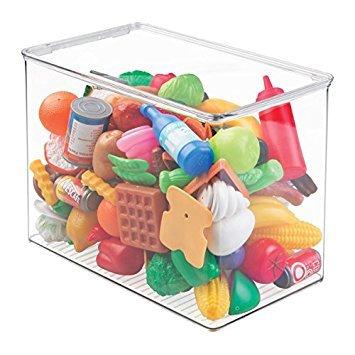 mDesign Juego de 2 cajas de almacenaje con tapa para guardar juguetes – Juguetero de plástico apilable, ideal para la habitación infantil – Práctico organizador de juguetes – transparente