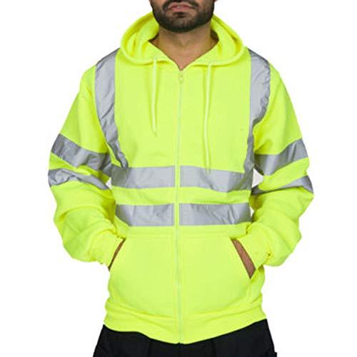 Heflashor Herren Hohe Sichtbarkeit Kapuzenpullover Workwear Warnschutz Hoodie Reflektierend Sicherheitsjacke Atmungsaktiv Langarm Kapuzenpulli Sweater Top