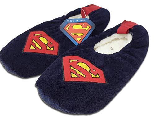 Officially Licenced Slippers Superhelden-Hausschuhe für Herren, superweich, Kunstwolle, Superman - Größe: 41/42 EU