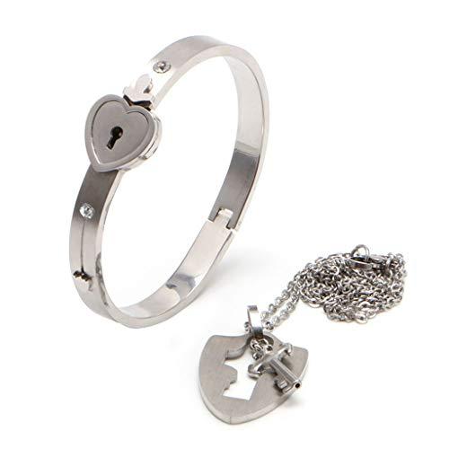 Lamdoo Paar Titan Stahl Schloss Armreif & Schlüssel Anhänger Halskette Liebe Sets Geschenk