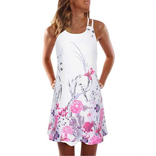 MRULIC Party Dress Strandkleid Sommer Elegante Damen Boho Lose Vintage Ärmellos 3D Blumendruck Bohe Casual Täglichen Strand Urlaub Tank Short Mini Kleid (Chambray Shorts Mädchen)