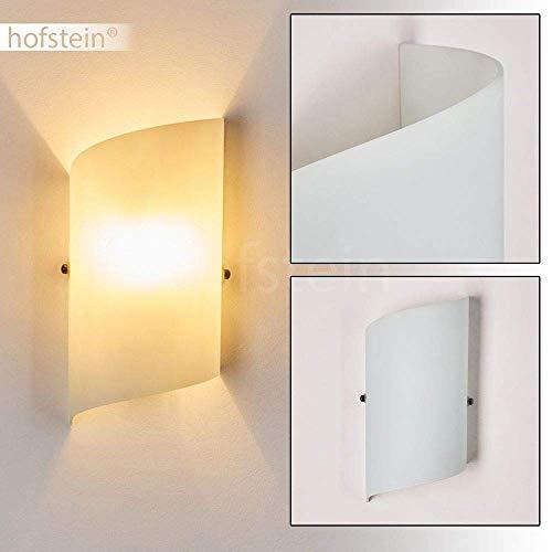 Wandlampe Pordenone aus Glas in Weiß, moderne Wandleuchte mit Lichtspiel an der Wand, 1 x E14 max. 40 Watt, Innenwandleuchte mit Up & Down-Effekt, geeignet für LED Leuchtmittel -
