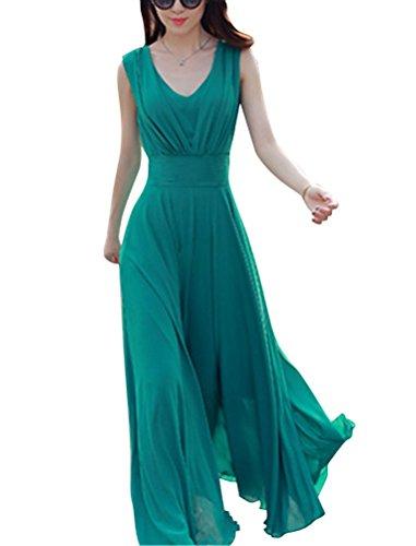 Brinny Damen Sommer und Frühling Kleid Elegante Cocktail Party einfarbig Kleider ärmellos Chiffon Abendkleid Grün