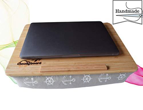Cloudyboard Laptray Knietablett Laptop-Kissen Notebook mit Kissen aus Bambusholz (Beige Anker) -