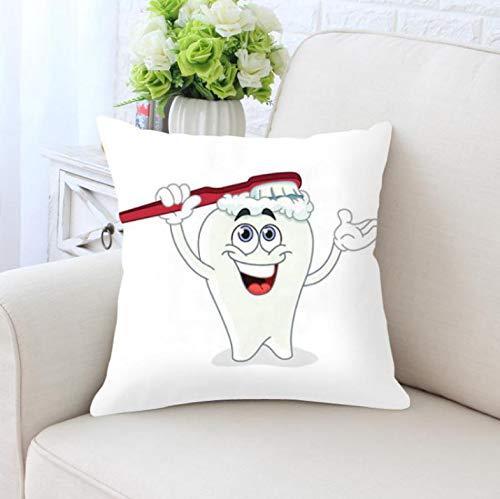 HLZLA Nette Karikatur-Zahn-Kissen-Reinigungs-Reiniger-Sorgfalt-Bürsten-Hygiene zusammen glückliches Zahn-weißes Zahnbürsten-Kinderkissen für Haus1 (Zusammen Glückliche Halloween 1.)