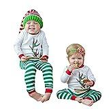 Infant Baby Bekleidungssets 0-24 Monate Boy Girl Babybekleidung Babymode Baumwolle Mädchenbekleidung Hirsch T-Shirt Tops gestreifte Hose Weihnachten Kleidung Set Felicove