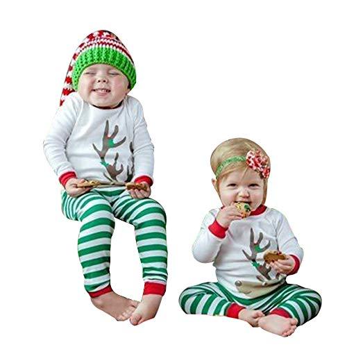 YanHoo Ropa para niños Camiseta de Manga Larga con Adornos navideños de niños Camiseta Tops Pantalones de Rayas Navidad Ropa Conjunto Conjunto de Ropa para niños Traje de otoño e Invierno