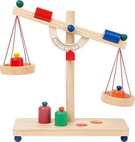 small foot 4592 Balkenwaage / Kinderwaage aus Holz, Zubehör für Kaufmannsladen, inkl. Gewichten, ab 3 Jahren