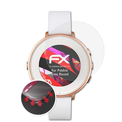 atFoliX Schutzfolie passend für Pebble Time Ro& Folie, entspiegelnde & Flexible FX Bildschirmschutzfolie (3X)