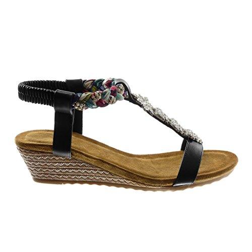 Angkorly Chaussure Mode Sandale Salomés Femme Strass Diamant Tréssé Fantaisie Talon Compensé Plateforme 4.5 CM Noir