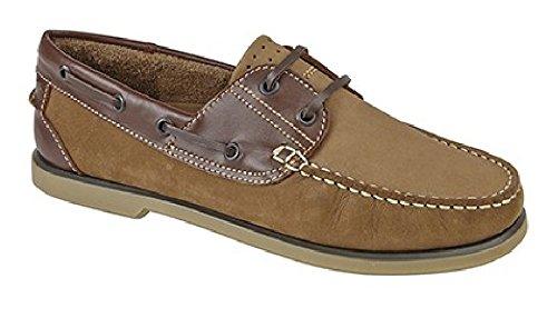Chaussures de bateau pour les hommes - bleu et brun Marron - marron