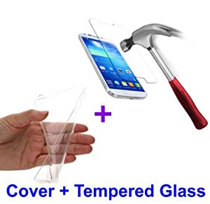For Reliance JIO LYF Wind 1 Soft Jelly Transparent Back Cover + Tempered Glass