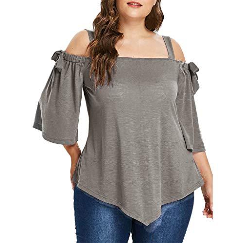 VEMOW Plus Size Fashion Sommer Herbst Lady Lace Damen Langarm T-Shirt Casual Top Bluse(Y2-Grau, EU-48/CN-3XL)