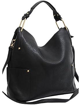 Damen Handtasche Schwarz Handtaschen Damen Groß Shopper Tasche Schultertasche Frauen K8235#