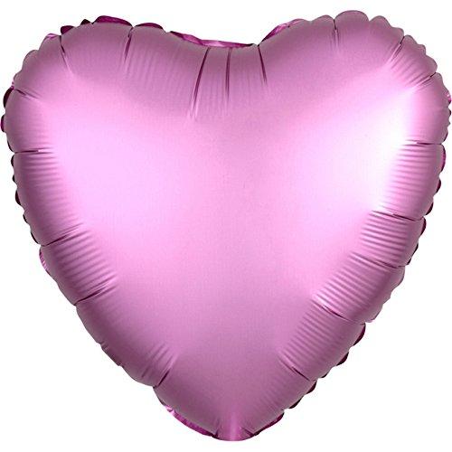 Amscan 3682201 Folienballon Herz, Farbe: Flamingo Satin, 43cm