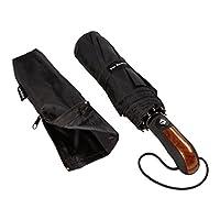 VAN BEEKEN Windproof Umbrella Folding Umbrella for Mens Women - Water Resistant, Teflon-Coating, Light-Weight, Small - Strong Windproof Compact Travel Umbrella with Auto Open Close 95 cm Black
