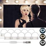 Kit de Lumière LED pour Miroir, Hollywood pour maquillage, Lampe pour Miroir cosmétique, lampe de Coiffeuse Miroir de courtoisie, Salle de Bain, 10 ampoules LED(3 Couleurs & Réglage à 10 Vitesses)