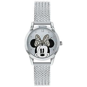 Disney Damen Datum klassisch Quarz Uhr mit Edelstahl Armband MN8008