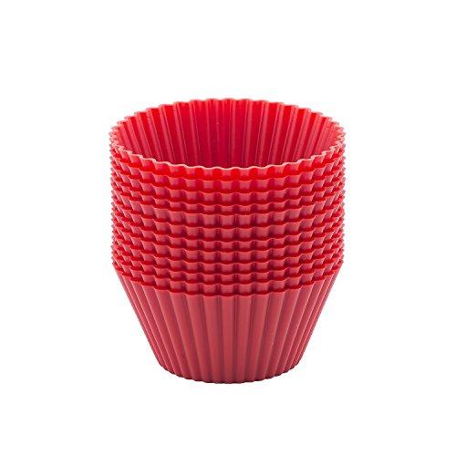beicemania Rot Cupcake Formen Muffinförmchen Muffinform Silikon Rund 7cm 12er Basic Pack