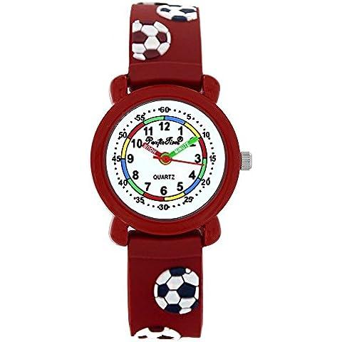 Ora del Pacifico bambini-Guarda learning Clock Sports Football analogico al quarzo Braccialetto in silicone rosso 202741