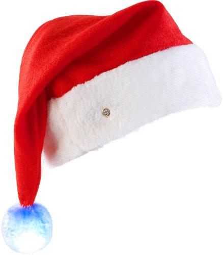 mannmütze: LED-Nikolausmütze mit leuchtendem Bommel, farbwechselnd (Weihnachtsmütze LED) (Flauschige Nikolausmütze)