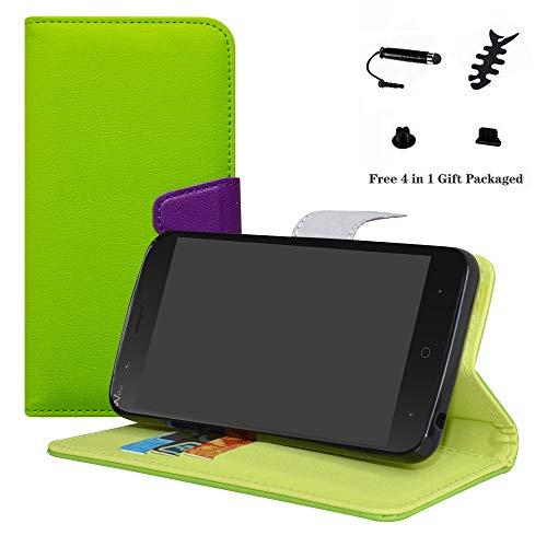 LFDZ Wiko Harry Hülle, [Standfunktion] [Kartenfächern] PU-Leder Schutzhülle Brieftasche Handyhülle für Wiko Harry Smartphone (mit 4in1 Geschenk Verpackt),Grün