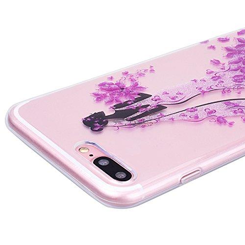 WE LOVE CASE Coque iPhone 7, Transparente en Premium Gel Coque iPhone 7 Silicone Souple Mince et Clair, Coque de Protection Bumper Gel Motif Fleur Coque Apple iPhone 7 Chien Princesse Rose