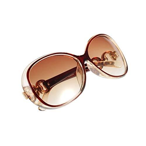HermosaUKnight Lunettes de Soleil Super Grand Cadre Vintage Femmes Shades Lunettes surdimensionnées Lunettes de Soleil Designer Classique résine + Plastique UV400 lentille-Brown